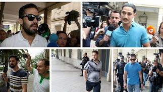 Los miembros de La Manada acuden a firmar a los juzgados de Sevilla.
