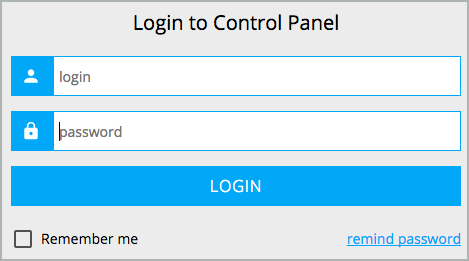 Log in to Control Panel