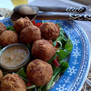 {Hushpuppies} Fish Balls with Spicy Dip