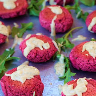 Beet Falafel Sliders with Dill Tahini Sauce