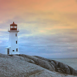 Peggy's Point Lighthouse by Lena Arkell - Buildings & Architecture Public & Historical ( red, atlantic, lighthouse, white, canada, old, nova scotia, sunset, historical, heritage, light house,  )