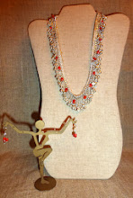 Photo: <BEREHYNYA> {Great Goddess Protectress} unique one-of-a-kind statement jewellery by Luba Bilash ART & ADORNMENT  112 DEW-KISSED KALYNA ~ КАЛИНА В РОСІ - coral, silver plate $180/set SOLD/ПРОДАНИЙ