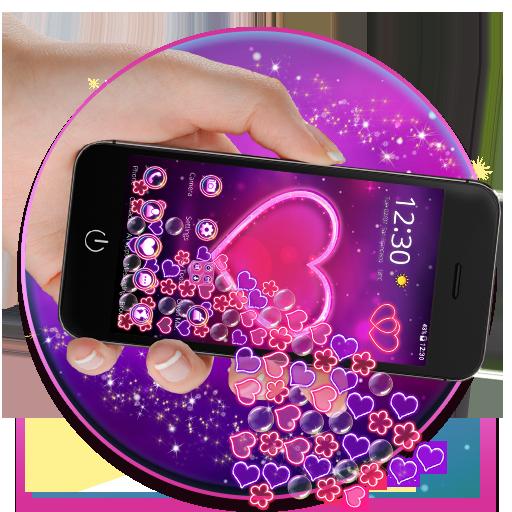 Neon Pink Heart Gravity theme