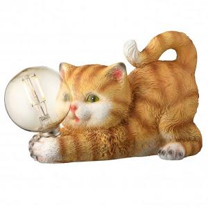 Lampa solara LED filament Hoff, pisica, polirasina, H 15 cm