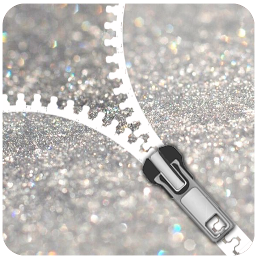 Silver Glitter Zip Locker  - zipper Screen theme