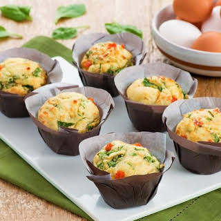 Savoury Muffins with Spinach, Tomato and Feta Cheese.