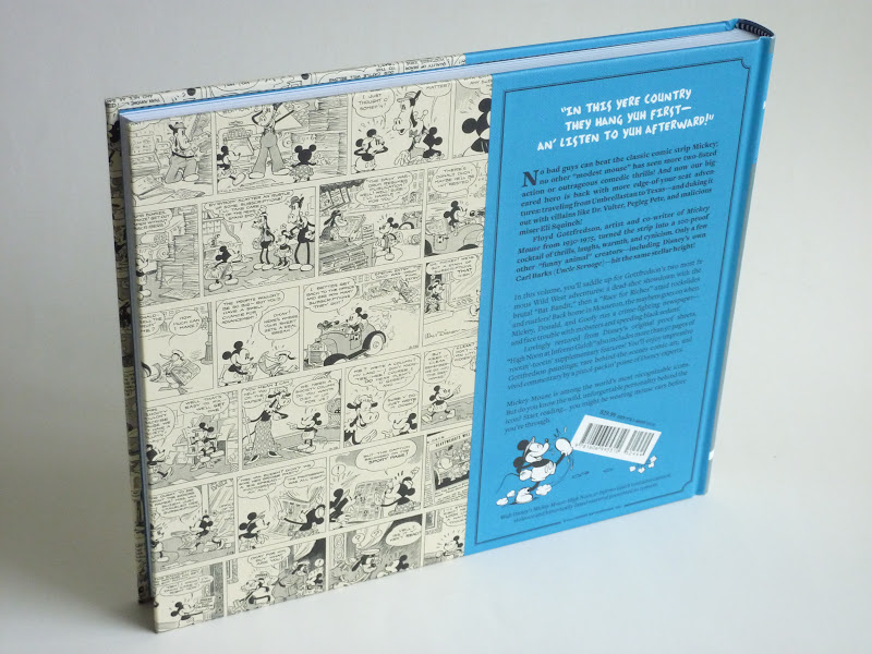 "Photo: Walt Disney's Mickey Mouse Vol. 3: High Noon at Inferno Gulch by Floyd Gottfredson  http://www.fantagraphics.com/mickey3  280-page black & white/color 10.5"" x 8.75"" hardcover • $29.99 ISBN: 978-1-60699-531-0 - Back cover."