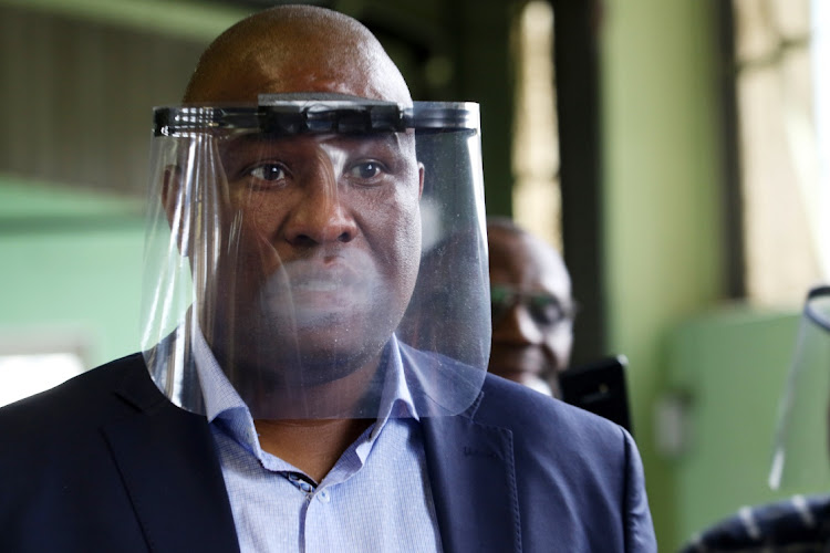 Premier Oscar Mabuyane at a Factory in Dimbaza industrial area near King William's town where Covid 19 protective gear is manufactured.