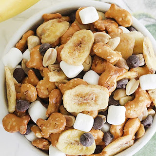 Banana Rocky Road Pretzel Goldfish Snack Mix