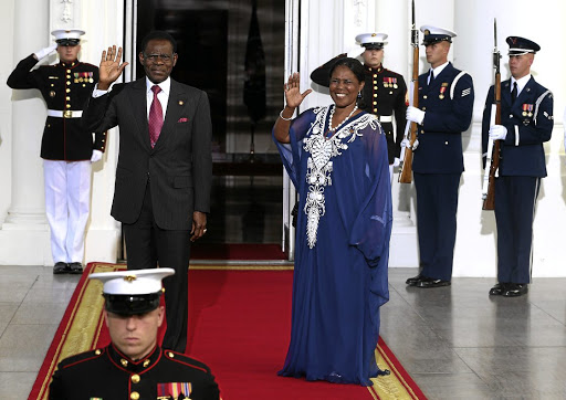 Equatorial Guinea President Teodoro Obiang Nguema Mbasogo and wife Constancia Mangue. Nguema is accused of enriching his family through abuse of state power.