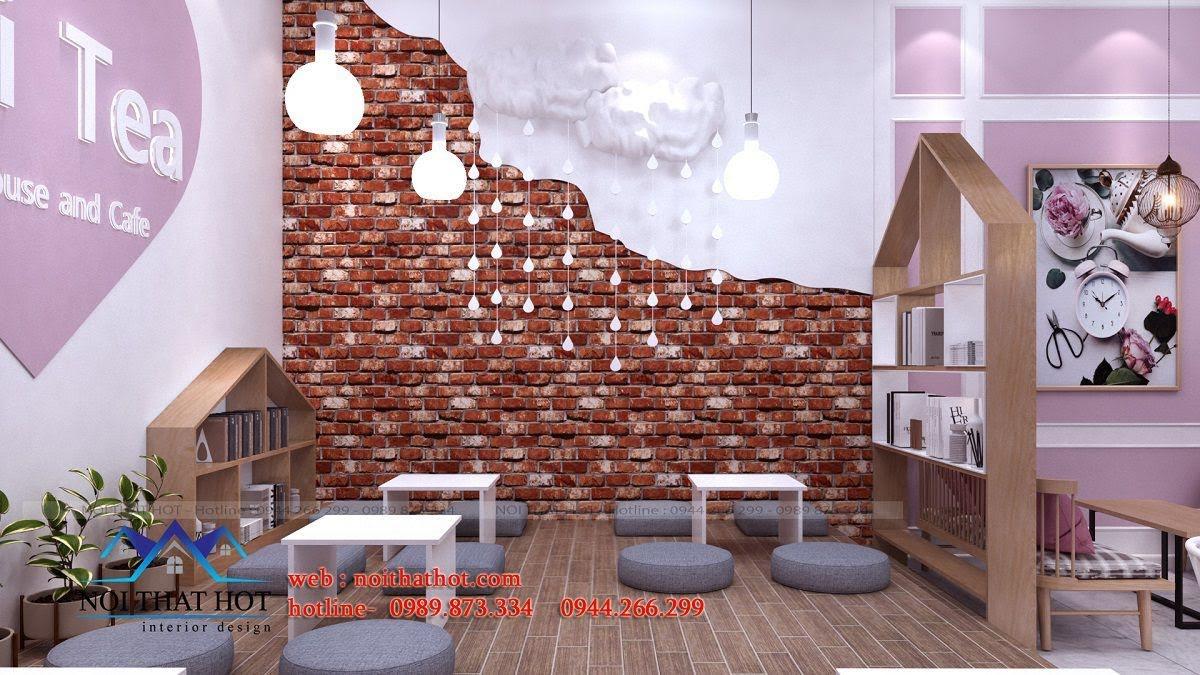 thiết kế quán trà sữa hei tea 6