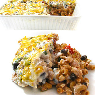 Skinny and Vegetarian, Mexican Mac and Cheese Casserole.