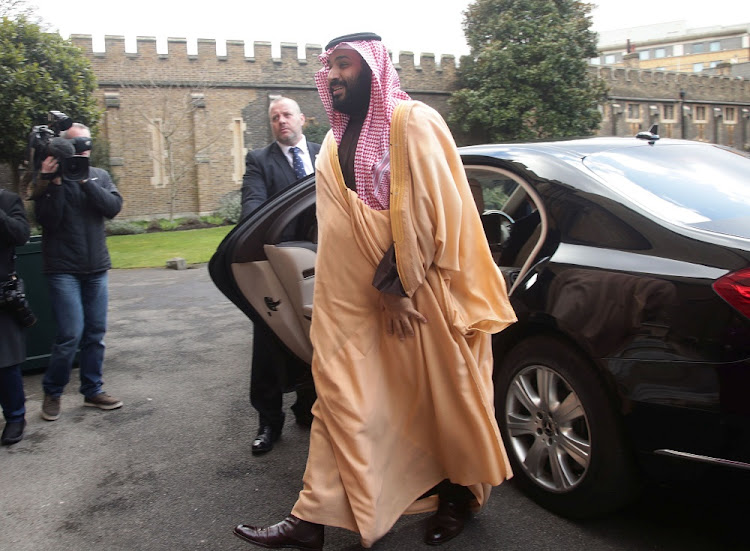 The Crown Prince of Saudi Arabia Mohammed bin Salman arrives at Lambeth Palace in London, Britain, March 8 2018. Picture: REUTERS