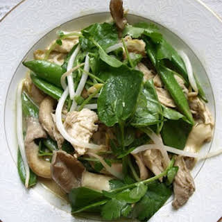 Skillet Chicken with Snap Peas, Mushrooms, and Coconut Curry.