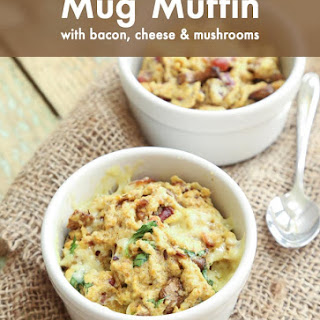 Keto Mug Muffin with Bacon, Cheese & Mushrooms