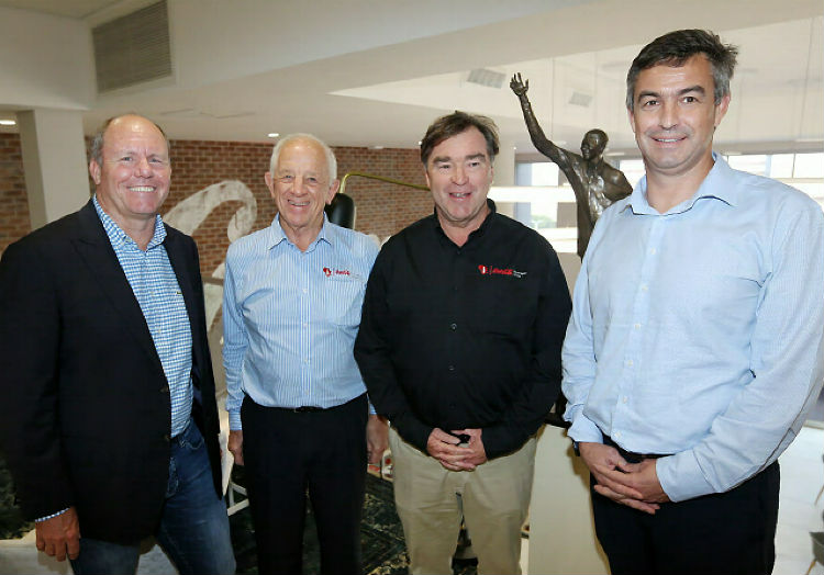 At the opening inreferenceto  the indelicate Coca-Cola Beverages Africa (CCBA) headquarters are, from left, Coca-Cola SA  manager Roger Gauntlett, CCBA chairman Phil Gutsche, CCBA preeminent executive Doug Jackson and Coca Cola-Beverages International Division managing director Jacques Vermeulen