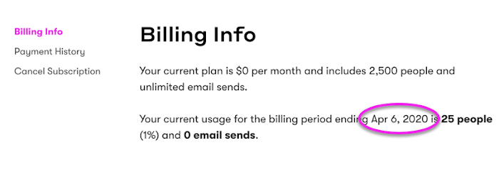 Locate your subscription renewal date under Billing Info.