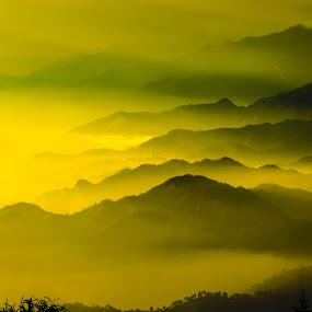 The Himalayas by Akash Deep - Landscapes Mountains & Hills ( himachal pradesh, nikon d3100, road to prashar, sunset, mountain ranges, himalayas, golden hour )
