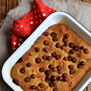 Olive Oil Cake with Polenta and Roasted Red Grapes