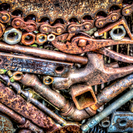 Nuts and Bolts Color by Anthony Balzarini - Artistic Objects Still Life ( #rust, #artistic, #photography, #tools, #nuts, #bolts )