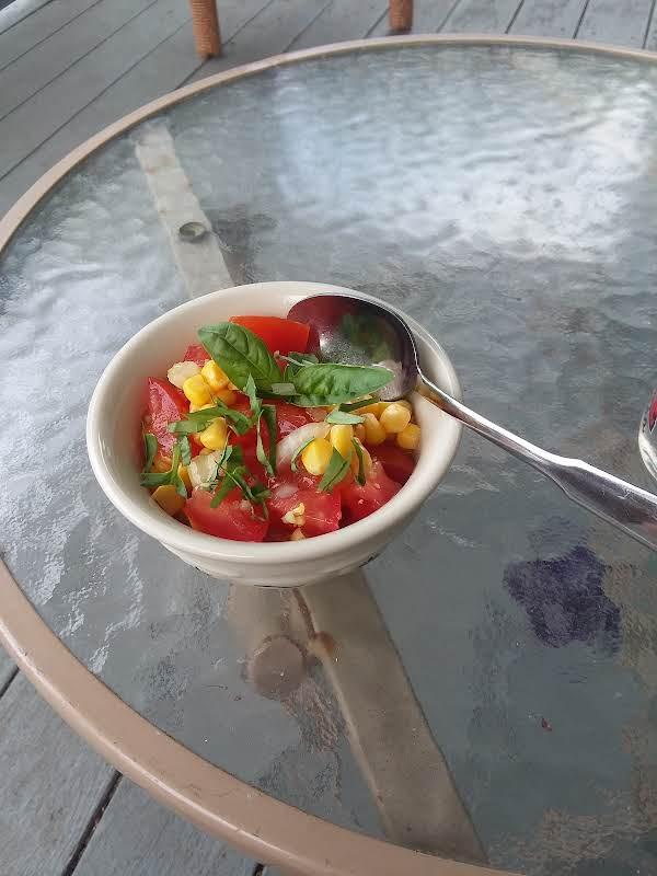 Yummy Easy Corn  Salad With Fresh Basel Recipe