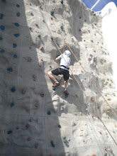Photo: Brian climing the rock wall on the boat