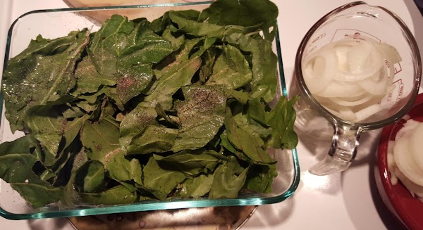 Begin with a shallow dish sprayed with olive oil spray, (mine was 8X6 inch...