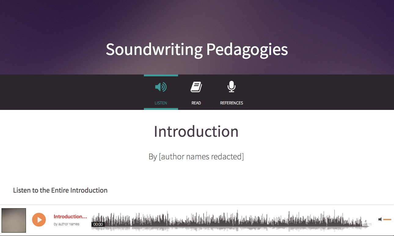 "White words ""Soundwriting Pedagogies"" appear at the top of the page with a purple background. At the bottom of the page is a visual sound representation of the chapter's audio."