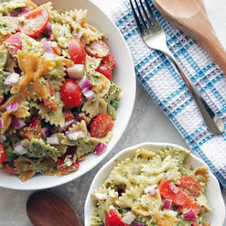 Basil Avocado Pesto Vegetable Pasta Salad.
