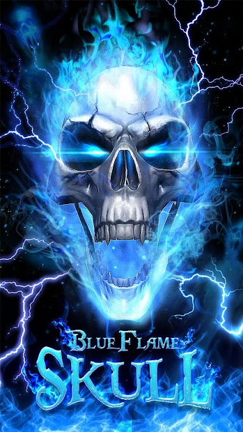 3d blue fire skull