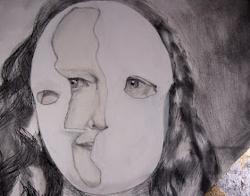 Photo: Split Mask, crop, 2014, Brenda Clews, mixed media on canvas.