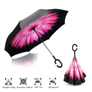 Umbrela reversibila de ploaie, Maner in forma literei C, 106 cm, Grunberg