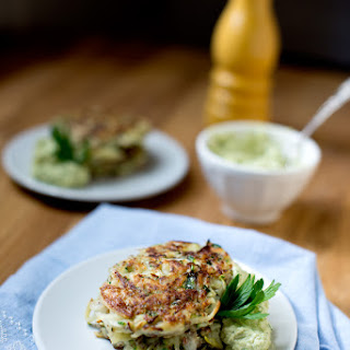 Vegan {Zucchini} Fritter with Avocado Cream
