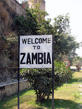 Photo: 'Welcome to Zambia' at the Kariba-Siavonga border crossing
