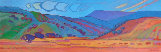 "Photo: Vaqueros Spirit, acrylic on canvas 8"" x 24"" © Nancy Roberts"
