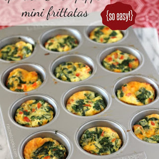 Mini Frittatas with Spinach and Red Pepper.