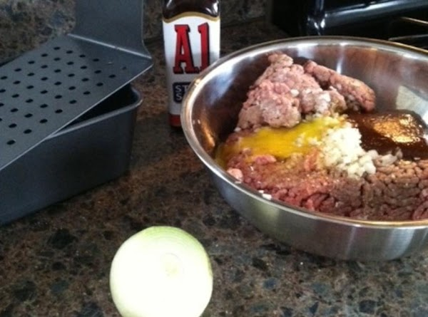 Mix everything together. Press into 9X11 pan.  I use a meatloaf pan that...