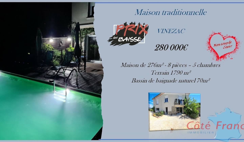 Villa avec piscine et terrasse Vinezac