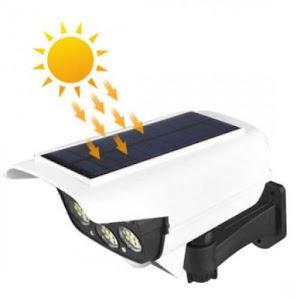 Camera falsa cu panou solar, 77 LED, senzor de miscare