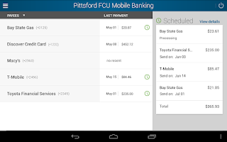 Screenshot of Pittsford FCU Mobile Banking