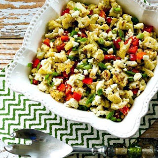 Roasted Cauliflower Salad with Feta, Capers, Red Bell Pepper, and Green Onion.