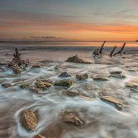 Cayton Bay by Phil Green - Landscapes Waterscapes ( north yorkshire, seascape, sunrise, rocks, wave, cayton bay )
