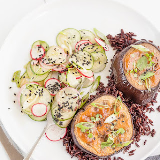 Miso Eggplant with Cucumber & Radish Salad