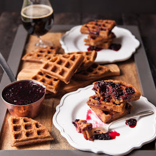 Peanut Butter Stout Waffles with Blackberry Gose Syrup