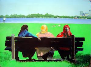 "Photo: Summer @ Lake Calhoun, Minneapolis, MN acrylic on BFK Rives: 22"" x 30"""