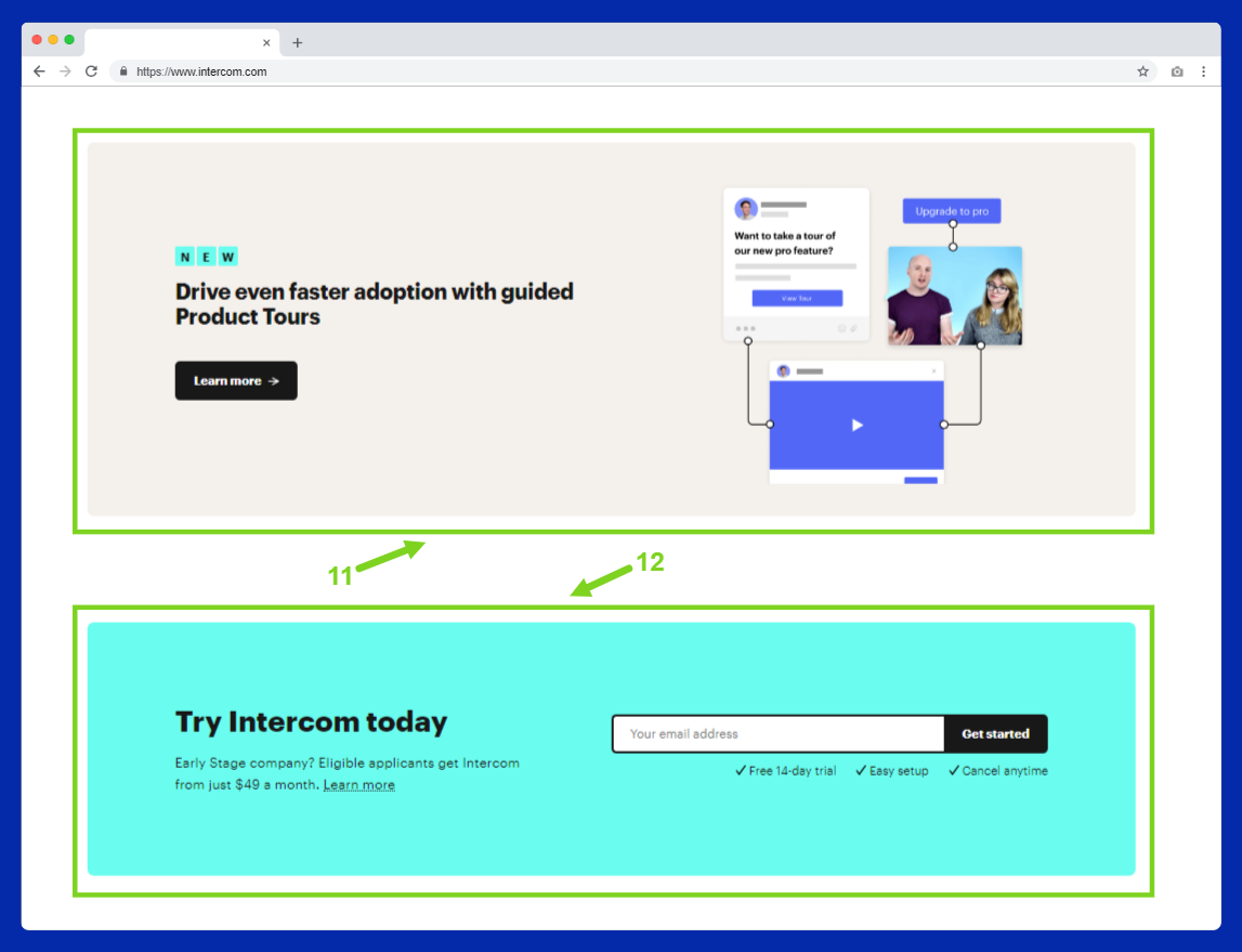 intercom homepage copywriting