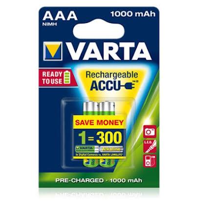 Varta Batterier Uppladdningsbara 1000 mAh AAA 2st
