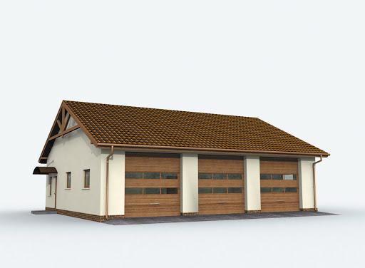 projekt G164 szkielet drewniany garaż trzystanowiskowy