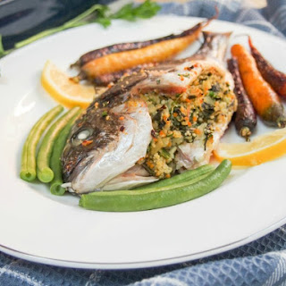 Chard, lemon and couscous stuffed fish (eg sea bream) #FishFidayFoodies