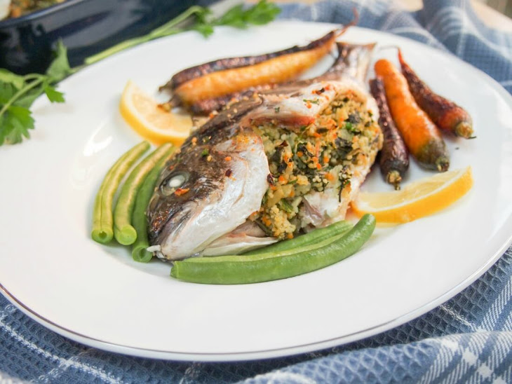 Chard, Lemon and Couscous Stuffed Fish (Eg Sea Bream) #FishFidayFoodies Recipe